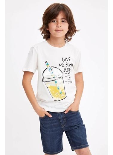 DeFacto Güneşte Renk Değiştiren Baskılı T-shirt Beyaz